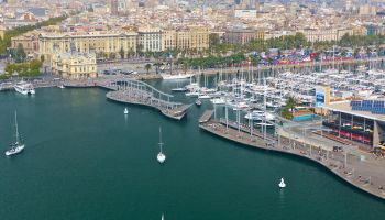 Barcelona port aerial views